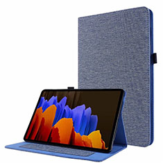 Custodia Portafoglio In stoffa con Supporto per Samsung Galaxy Tab S7 4G 11 SM-T875 Blu