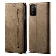 Custodia Portafoglio In stoffa con Supporto per Xiaomi Poco M3 Khaki