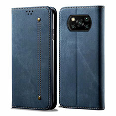 Custodia Portafoglio In stoffa con Supporto per Xiaomi Poco X3 NFC Blu