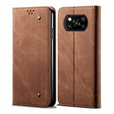 Custodia Portafoglio In stoffa con Supporto per Xiaomi Poco X3 NFC Marrone