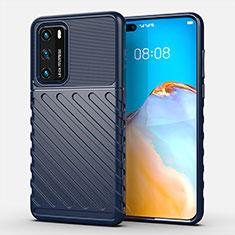 Custodia Silicone Cover Morbida Line C01 per Huawei P40 Blu