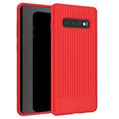 Custodia Silicone Cover Morbida Line L01 per Samsung Galaxy S10 Rosso