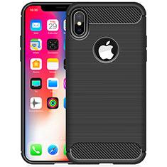 Custodia Silicone Cover Morbida Line per Apple iPhone X Nero