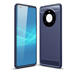 Custodia Silicone Cover Morbida Line per Huawei Mate 40 Pro+ Plus Blu