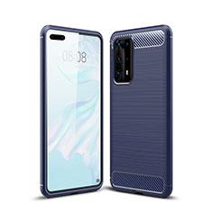 Custodia Silicone Cover Morbida Line per Huawei P40 Pro+ Plus Blu