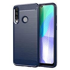 Custodia Silicone Cover Morbida Line per Huawei Y6p Blu