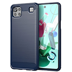 Custodia Silicone Cover Morbida Line per LG K92 5G Blu