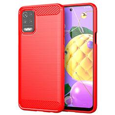 Custodia Silicone Cover Morbida Line per LG Q52 Rosso