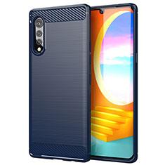 Custodia Silicone Cover Morbida Line per LG Velvet 5G Blu