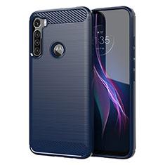 Custodia Silicone Cover Morbida Line per Motorola Moto One Fusion Plus Blu