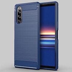 Custodia Silicone Cover Morbida Line per Sony Xperia 5 Blu