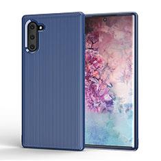 Custodia Silicone Cover Morbida Line S01 per Samsung Galaxy Note 10 5G Blu