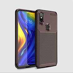 Custodia Silicone Cover Morbida Spigato A01 per Xiaomi Mi Mix 3 Marrone