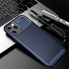 Custodia Silicone Cover Morbida Spigato per Apple iPhone 12 Max Blu