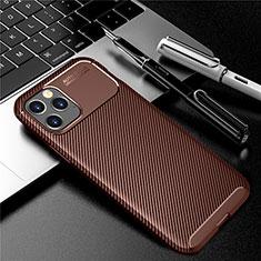 Custodia Silicone Cover Morbida Spigato per Apple iPhone 12 Max Marrone