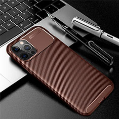 Custodia Silicone Cover Morbida Spigato per Apple iPhone 12 Pro Marrone