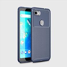 Custodia Silicone Cover Morbida Spigato per Google Pixel 3a Blu