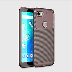 Custodia Silicone Cover Morbida Spigato per Google Pixel 3a XL Marrone