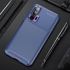 Custodia Silicone Cover Morbida Spigato per Huawei Honor 20 Pro Blu