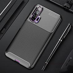 Custodia Silicone Cover Morbida Spigato per Huawei Honor 20 Pro Nero