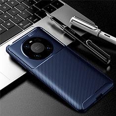 Custodia Silicone Cover Morbida Spigato per Huawei Mate 40 Blu