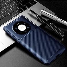 Custodia Silicone Cover Morbida Spigato per Huawei Mate 40 Pro+ Plus Blu