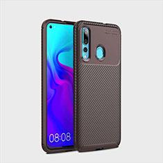 Custodia Silicone Cover Morbida Spigato per Huawei Nova 4 Marrone