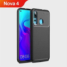 Custodia Silicone Cover Morbida Spigato per Huawei Nova 4 Nero
