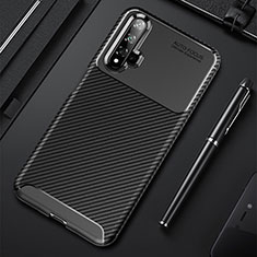 Custodia Silicone Cover Morbida Spigato per Huawei Nova 5 Nero