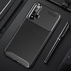 Custodia Silicone Cover Morbida Spigato per Huawei Nova 5 Pro Nero