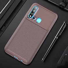 Custodia Silicone Cover Morbida Spigato per Huawei Nova 5i Marrone