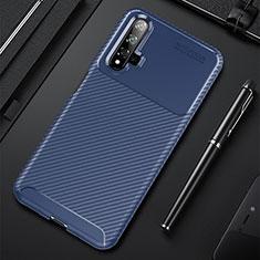 Custodia Silicone Cover Morbida Spigato per Huawei Nova 5T Blu