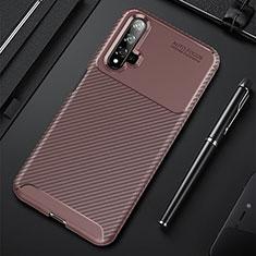 Custodia Silicone Cover Morbida Spigato per Huawei Nova 5T Marrone