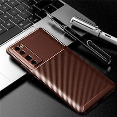 Custodia Silicone Cover Morbida Spigato per Huawei Nova 7 Pro 5G Marrone