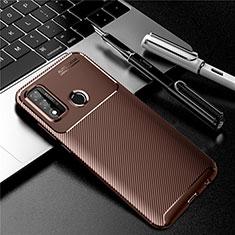 Custodia Silicone Cover Morbida Spigato per Huawei P Smart (2020) Marrone