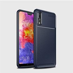 Custodia Silicone Cover Morbida Spigato per Huawei P20 Blu