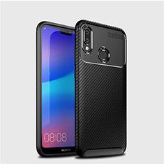 Custodia Silicone Cover Morbida Spigato per Huawei P20 Lite Nero