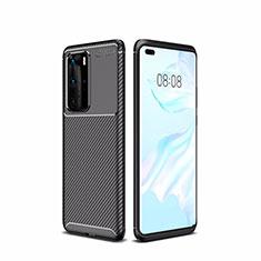 Custodia Silicone Cover Morbida Spigato per Huawei P40 Pro Nero