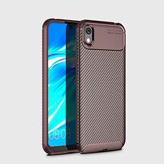 Custodia Silicone Cover Morbida Spigato per Huawei Y5 (2019) Marrone