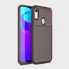 Custodia Silicone Cover Morbida Spigato per Huawei Y6s Marrone