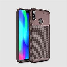 Custodia Silicone Cover Morbida Spigato per Huawei Y7 Pro (2019) Marrone
