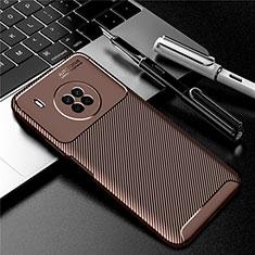 Custodia Silicone Cover Morbida Spigato per Huawei Y9a Marrone