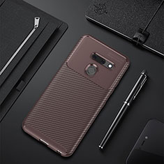 Custodia Silicone Cover Morbida Spigato per LG G8 ThinQ Marrone