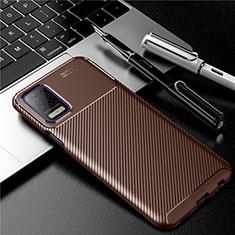 Custodia Silicone Cover Morbida Spigato per LG K52 Marrone