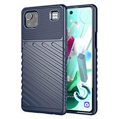 Custodia Silicone Cover Morbida Spigato per LG K92 5G Blu