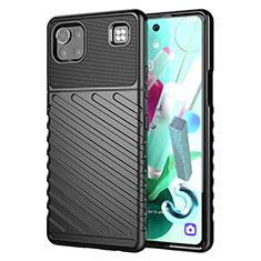 Custodia Silicone Cover Morbida Spigato per LG K92 5G Nero