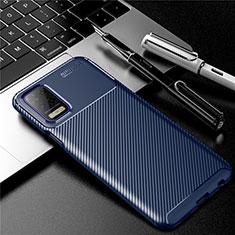 Custodia Silicone Cover Morbida Spigato per LG Q52 Blu