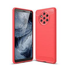 Custodia Silicone Cover Morbida Spigato per Nokia 9 PureView Rosso