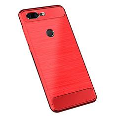 Custodia Silicone Cover Morbida Spigato per OnePlus 5T A5010 Rosso