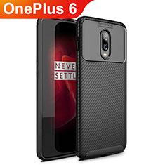 Custodia Silicone Cover Morbida Spigato per OnePlus 6 Nero